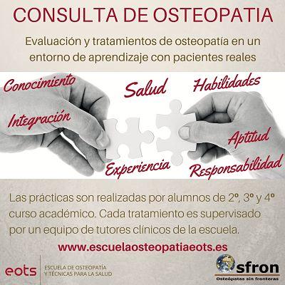 practicas escuela de osteopatia, alumnos de osteopatia en practicas, practicas clinicas osteopatas, consultas gratis de osteopatia